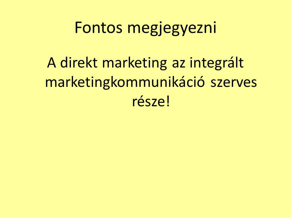 Fontos megjegyezni A direkt marketing az integrált marketingkommunikáció szerves része!