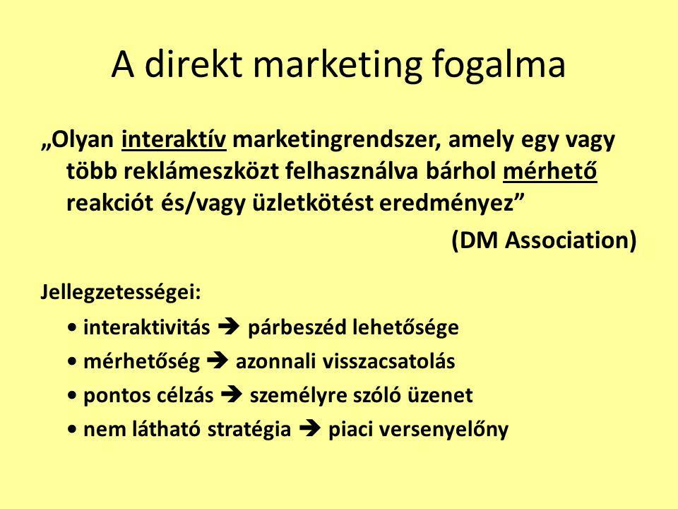 """A direkt marketing fogalma """"Olyan interaktív marketingrendszer, amely egy vagy több reklámeszközt felhasználva bárhol mérhető reakciót és/vagy üzletkö"""