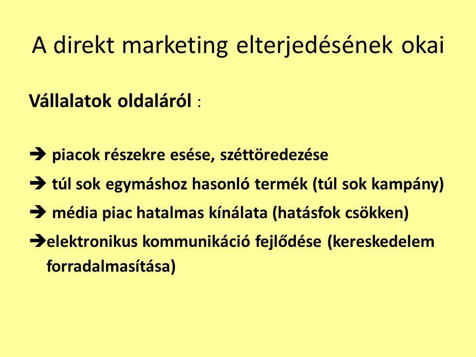 A direkt marketing elterjedésének okai Vállalatok oldaláról :  piacok részekre esése, széttöredezése  túl sok egymáshoz hasonló termék (túl sok kamp