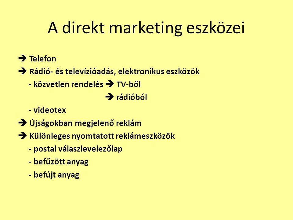 A direkt marketing eszközei  Telefon  Rádió- és televízióadás, elektronikus eszközök - közvetlen rendelés  TV-ből  rádióból - videotex  Újságokba