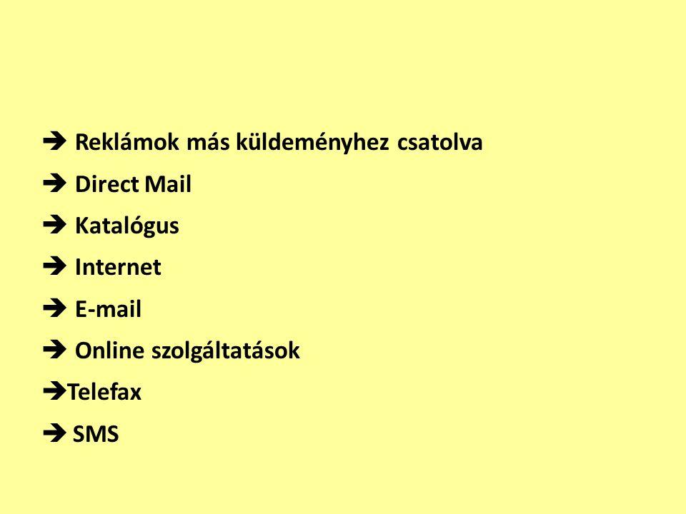  Reklámok más küldeményhez csatolva  Direct Mail  Katalógus  Internet  E-mail  Online szolgáltatások  Telefax  SMS
