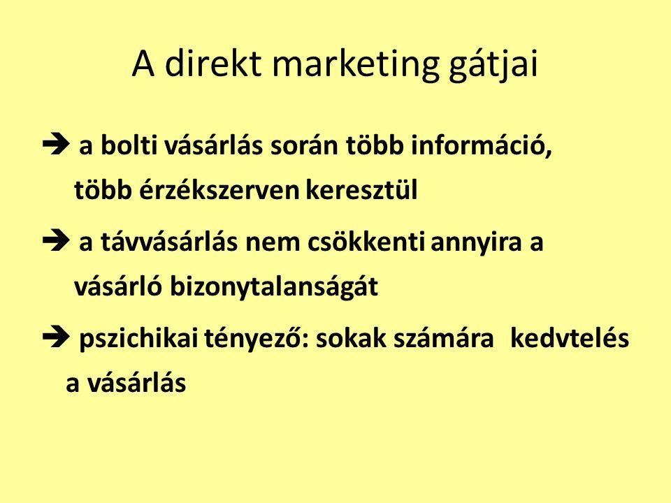 A direkt marketing gátjai  a bolti vásárlás során több információ, több érzékszerven keresztül  a távvásárlás nem csökkenti annyira a vásárló bizony