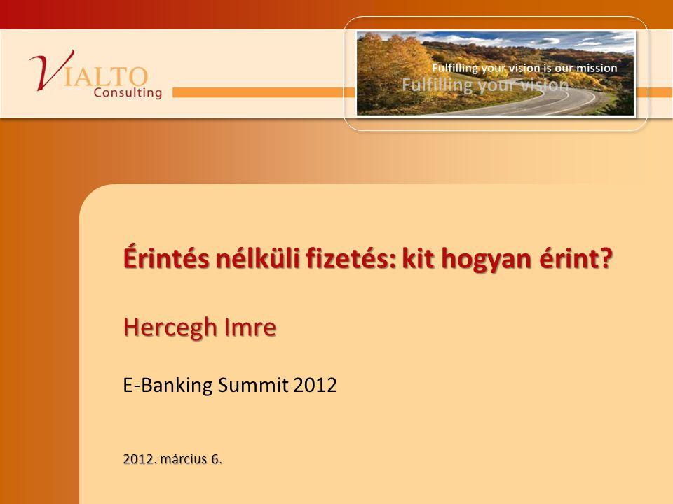 2012. március 6. E-Banking Summit 2012 Érintés nélküli fizetés: kit hogyan érint? Hercegh Imre