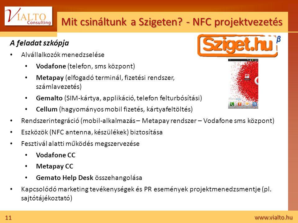 11 www.vialto.hu Mit csináltunk a Szigeten? - NFC projektvezetés A feladat szkópja • Alvállalkozók menedzselése • Vodafone (telefon, sms központ) • Me