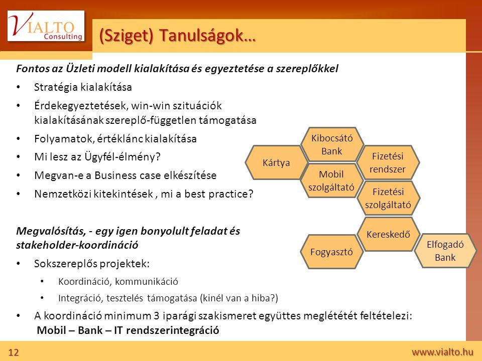12 www.vialto.hu (Sziget) Tanulságok… Fontos az Üzleti modell kialakítása és egyeztetése a szereplőkkel • Stratégia kialakítása • Érdekegyeztetések, w