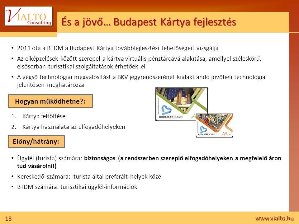 13 www.vialto.hu És a jövő… Budapest Kártya fejlesztés • 2011 óta a BTDM a Budapest Kártya továbbfejlesztési lehetőségeit vizsgálja • Az elképzelések