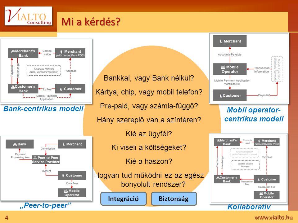 4 www.vialto.hu Mi a kérdés? Bankkal, vagy Bank nélkül? Kártya, chip, vagy mobil telefon? Pre-paid, vagy számla-függő? Hány szereplő van a színtéren?