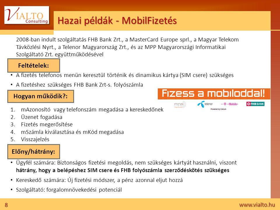 8 www.vialto.hu Hazai példák - MobilFizetés 2008-ban indult szolgáltatás FHB Bank Zrt., a MasterCard Europe sprl., a Magyar Telekom Távközlési Nyrt.,