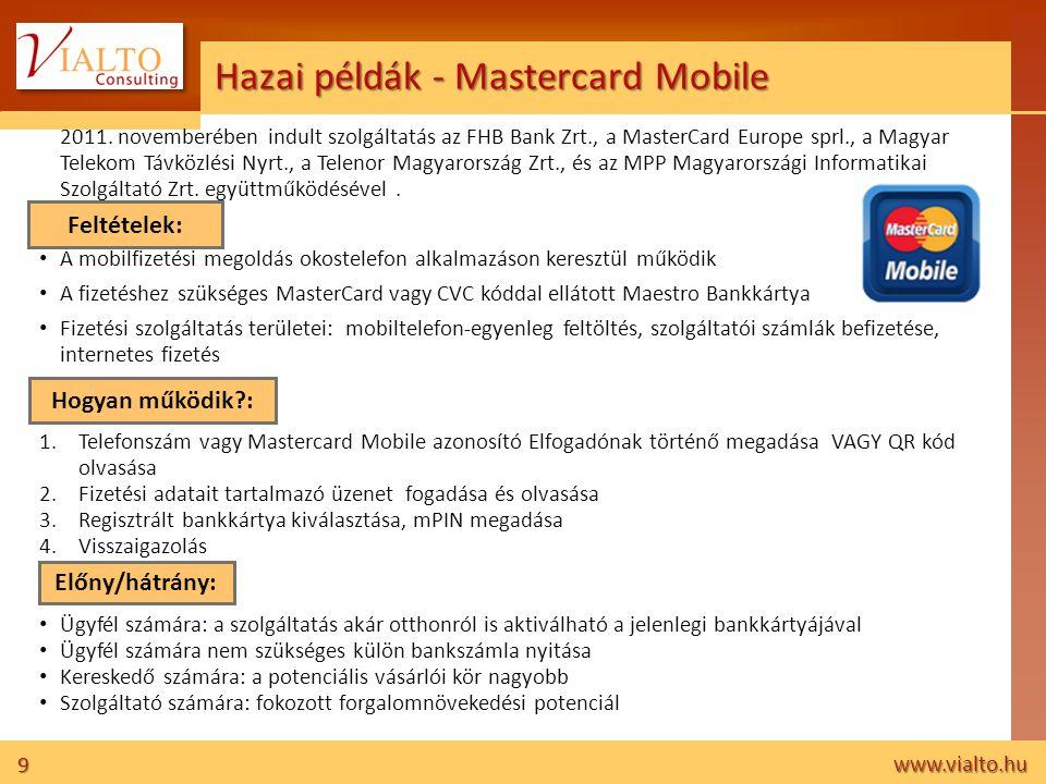 10 www.vialto.hu Hazai példák - Sziget NFC teszt • Metapay Fesztiválkártya használata NFC-s telefonokon • Teszt: hozzávetőleg 100-150 újságíró, ügyfél és belső munkatárs tesztelte a szolgáltatást a Sziget Fesztivál ideje alatt • NFC-s telefon és sim kártya rendelkezésre állása 1.Fesztiválkártya egyenleg feltöltése: feltöltőponton vagy távközlési egyenleg terhére (mobilvásárlás, okostelefonra fejlesztett alkalmazás segítségével) 2.Vásárlás • Ügyfél számára: Fesztiválkártya használatával megegyező előnyök • Szereplők számára: rendszer –integráció és együttműködési modell tesztelésének lehetősége Tanulságok: • Cél: minél egyszerűbb vásárlási folyamat • Készülék rendelkezésre állása .