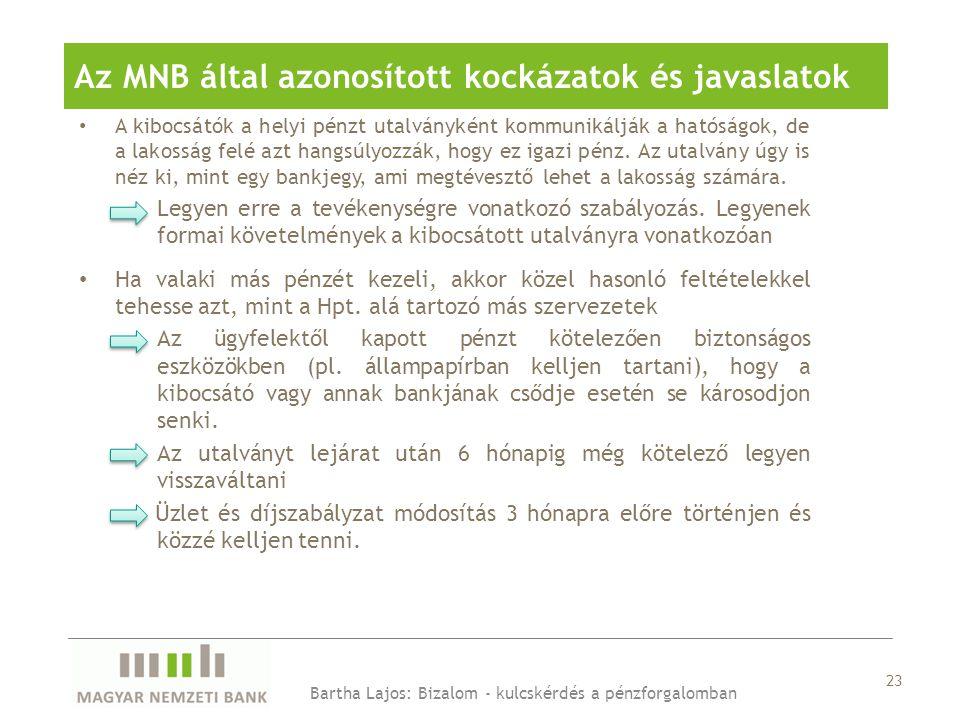 23 Az MNB által azonosított kockázatok és javaslatok • A kibocsátók a helyi pénzt utalványként kommunikálják a hatóságok, de a lakosság felé azt hangsúlyozzák, hogy ez igazi pénz.