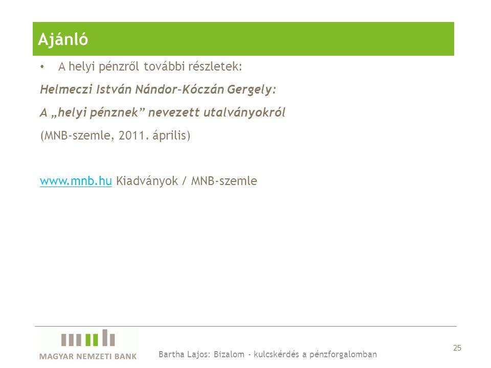 """• A helyi pénzről további részletek: Helmeczi István Nándor–Kóczán Gergely: A """"helyi pénznek nevezett utalványokról (MNB-szemle, 2011."""