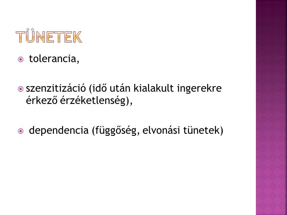  tolerancia,  szenzitizáció (idő után kialakult ingerekre érkező érzéketlenség),  dependencia (függőség, elvonási tünetek)