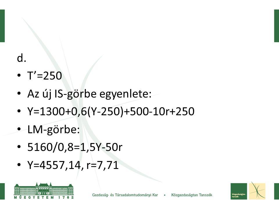 d. • T'=250 • Az új IS-görbe egyenlete: • Y=1300+0,6(Y-250)+500-10r+250 • LM-görbe: • 5160/0,8=1,5Y-50r • Y=4557,14, r=7,71