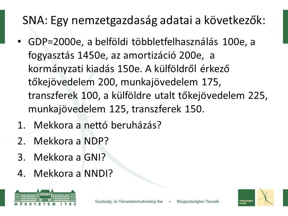 SNA: Egy nemzetgazdaság adatai a következők: • GDP=2000e, a belföldi többletfelhasználás 100e, a fogyasztás 1450e, az amortizáció 200e, a kormányzati