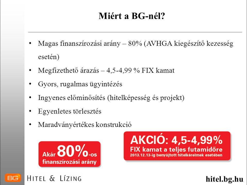 Miért a BG-nél? • Magas finanszírozási arány – 80% (AVHGA kiegészítő kezesség esetén) • Megfizethető árazás – 4,5-4,99 % FIX kamat • Gyors, rugalmas ü