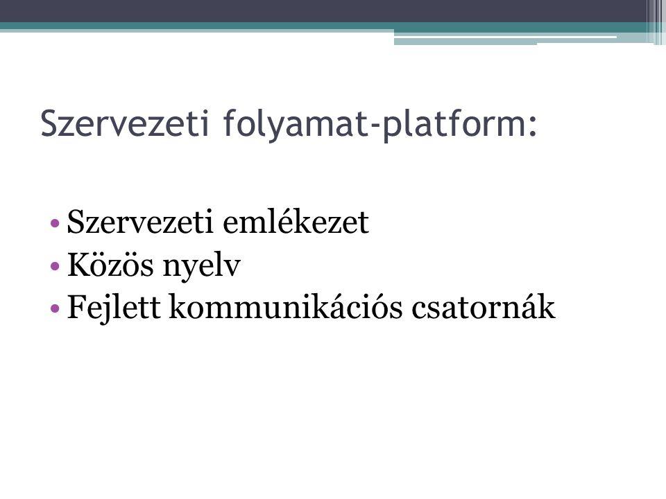 Szervezeti folyamat-platform: •Szervezeti emlékezet •Közös nyelv •Fejlett kommunikációs csatornák