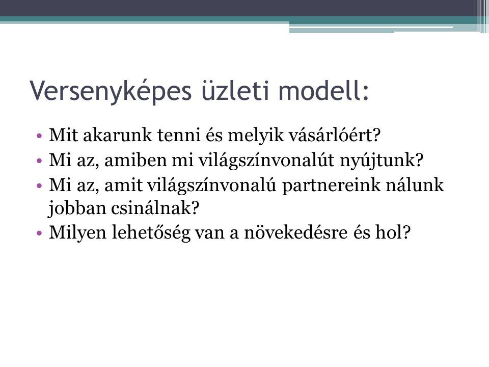 Versenyképes üzleti modell: •Mit akarunk tenni és melyik vásárlóért.