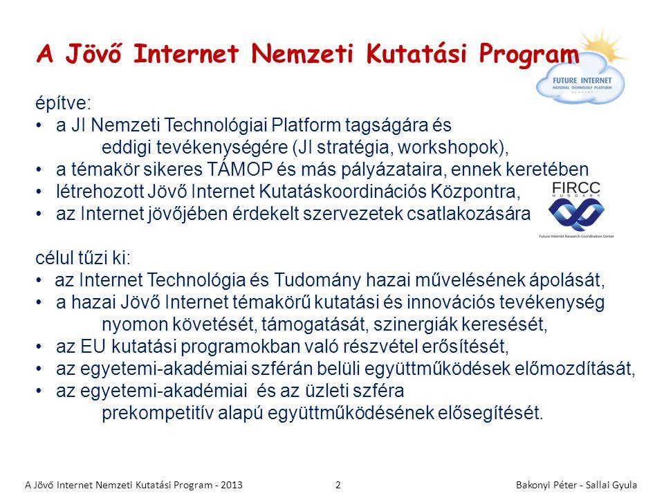 """3 Releváns Jövő Internet funkciók 1.Tárgyak, eszközök, szenzorok azonosítása és hálózatba kapcsolása (Internet of Things) 2.Mobilitás: """"bárhol, bármikor adatgyűjtés és megjelenítés 3.Hálózatba kapcsolt adatbázisok, nagymennyiségű, multimédia információ valós idejű elérhetősége, kezelése 4.Tartalom alapú keresés, tartalombányászat 5.3D és kognitív tartalom kezelése, virtuális világ 6.Helyazonosítás és nyomon követés 7.Információ biztonság, személyes adatok védelme 8.Testreszabott megoldások és megjelenítés (saját profil) 9.Minőség, szolgáltatás és alkalmazás orientáció (platform) 10.Felhőszámítás, erőforrások szolgáltatásként való igénybe vétele (Cloud computing and communications) 11.Folyamatok kollaborációja, fizikai folyamatok monitorozása, szabályozása Bakonyi Péter - Sallai GyulaA Jövő Internet Nemzeti Kutatási Program - 2013"""