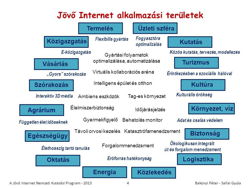 A kutatások fókusza • Internet Tudomány: alapvetések és hatások – Alapkutatások: hálózat tudomány, kriptográfia, az Internet hatása mindennapi életünkre, az emberi kapcsolatokra • Jövő Internet technológiák (Internet Engineering): – Hálózati architektúrák és protokollok, adatkezelési módszerek, tervezési eljárások kidolgozása a Jövő Internet számára • Innovatív megoldások: tartalom és alkalmazás – Jövő Internet alapú, testreszabható tartalomkezelő módszerek, ipari és közösségi alkalmazások fejlesztése 5 A Jövő Internet Nemzeti Kutatási Program - 2013Bakonyi Péter - Sallai Gyula