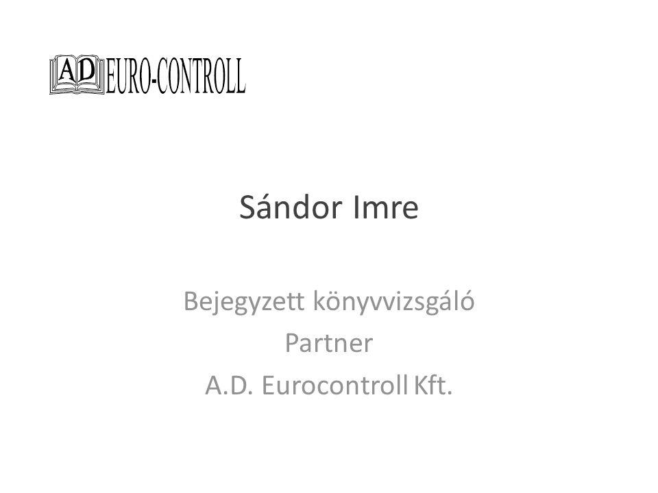 Sándor Imre Elnökségi tag Magyar Könyvvizsgálói Kamara Informatikai Tagozat