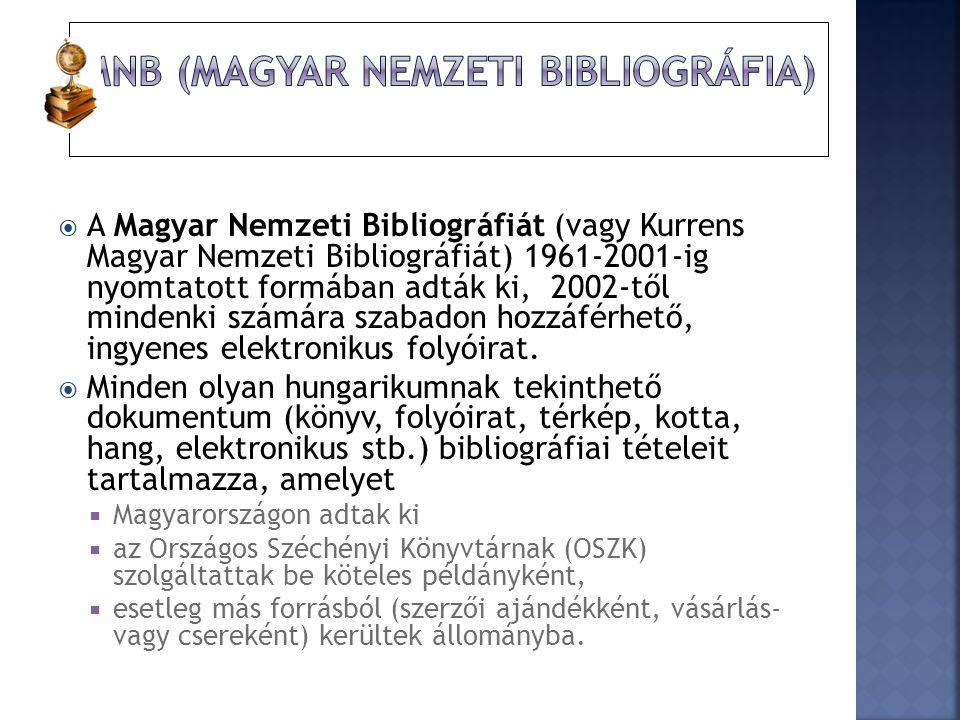  A Magyar Nemzeti Bibliográfiát (vagy Kurrens Magyar Nemzeti Bibliográfiát) 1961-2001-ig nyomtatott formában adták ki, 2002-től mindenki számára szab