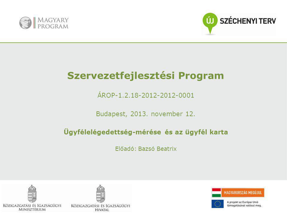 Szervezetfejlesztési Program ÁROP-1.2.18-2012-2012-0001 Budapest, 2013. november 12. Ügyfélelégedettség-mérése és az ügyfél karta Előadó: Bazsó Beatri