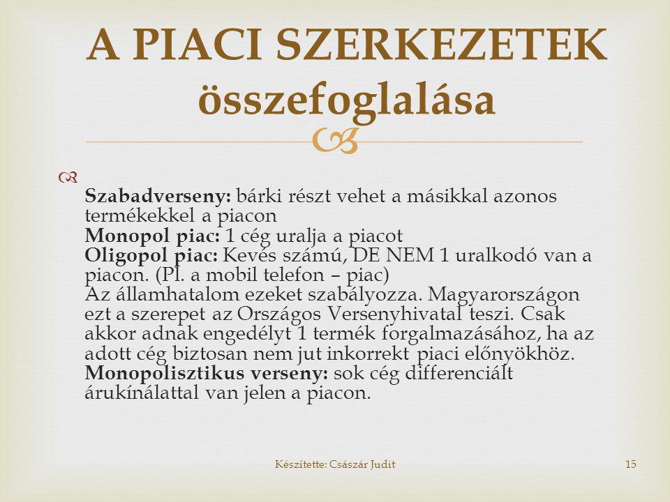   Szabadverseny: bárki részt vehet a másikkal azonos termékekkel a piacon Monopol piac: 1 cég uralja a piacot Oligopol piac: Kevés számú, DE NEM 1 u