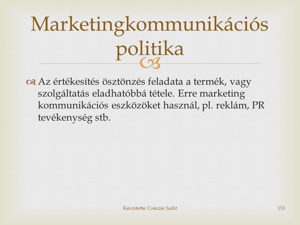   Az értékesítés ösztönzés feladata a termék, vagy szolgáltatás eladhatóbbá tétele. Erre marketing kommunikációs eszközöket használ, pl. reklám, PR