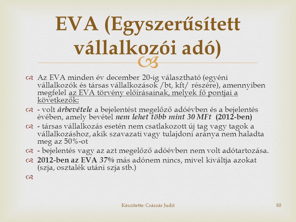   Az EVA minden év december 20-ig választható (egyéni vállalkozók és társas vállalkozások /bt, kft/ részére), amennyiben megfelel az EVA törvény elő