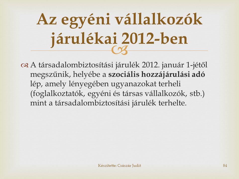   A társadalombiztosítási járulék 2012. január 1-jétől megszűnik, helyébe a szociális hozzájárulási adó lép, amely lényegében ugyanazokat terheli (f