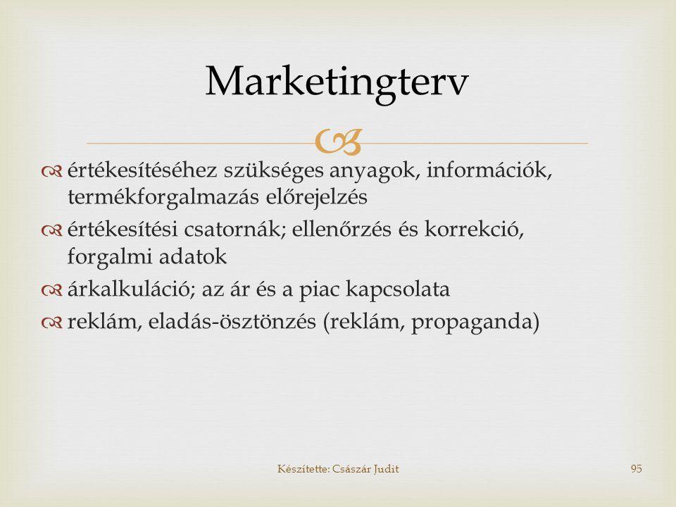  Marketingterv  értékesítéséhez szükséges anyagok, információk, termékforgalmazás előrejelzés  értékesítési csatornák; ellenőrzés és korrekció, for
