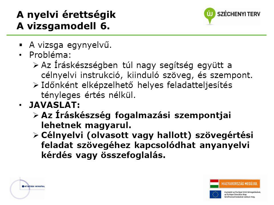  A vizsga egynyelvű. • Probléma:  Az Íráskészségben túl nagy segítség együtt a célnyelvi instrukció, kiinduló szöveg, és szempont.  Időnként elképz
