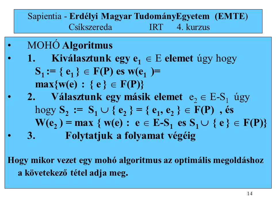 14 • MOHÓ Algoritmus • 1.