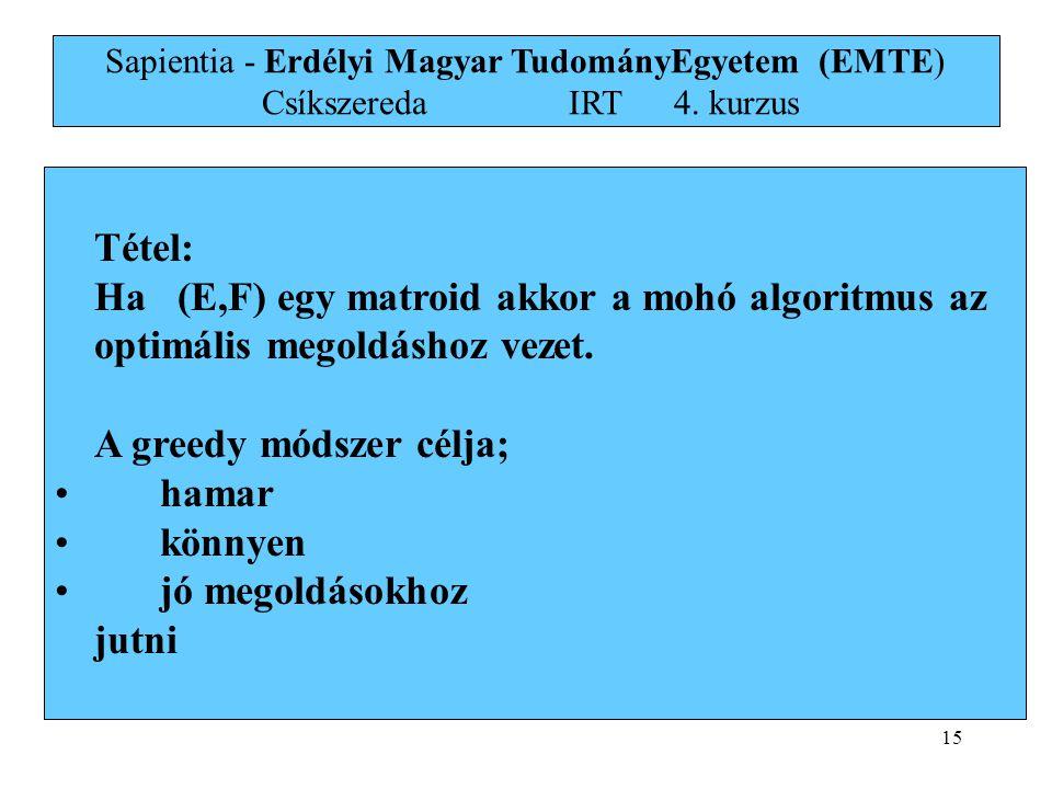 15 Tétel: Ha (E,F) egy matroid akkor a mohó algoritmus az optimális megoldáshoz vezet. A greedy módszer célja; •hamar •könnyen •jó megoldásokhoz jutni