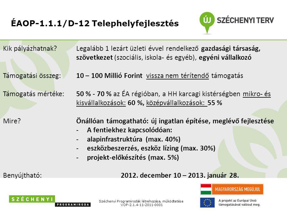 ÉAOP-1.1.1/D-12 Telephelyfejlesztés Széchenyi Programirodák létrehozása, működtetése VOP-2.1.4-11-2011-0001 Kik pályázhatnak? Támogatási összeg: Támog