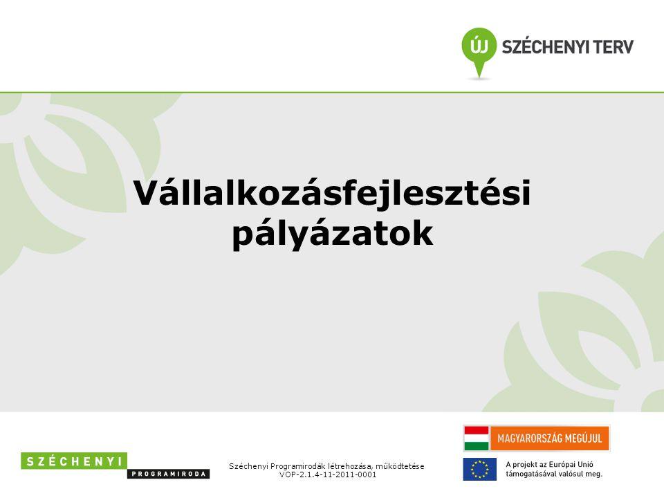 Vállalkozásfejlesztési pályázatok Széchenyi Programirodák létrehozása, működtetése VOP-2.1.4-11-2011-0001
