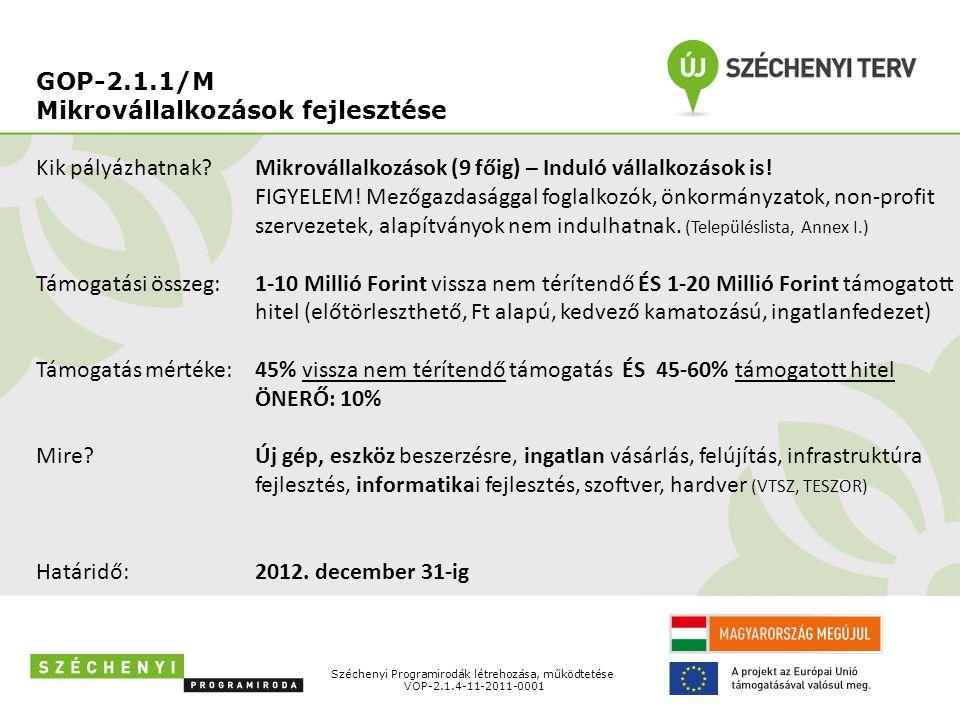 GOP-2.1.1/M Mikrovállalkozások fejlesztése Széchenyi Programirodák létrehozása, működtetése VOP-2.1.4-11-2011-0001 Kik pályázhatnak? Támogatási összeg