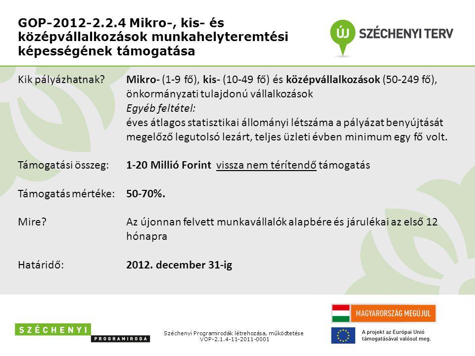 GOP-2012-2.2.4 Mikro-, kis- és középvállalkozások munkahelyteremtési képességének támogatása Széchenyi Programirodák létrehozása, működtetése VOP-2.1.