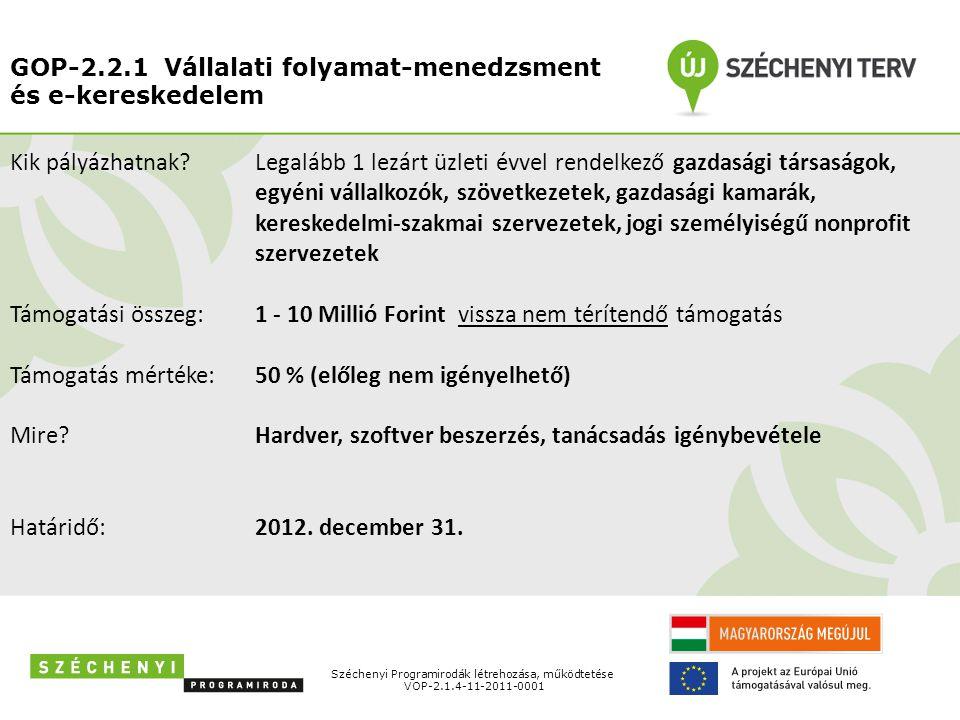 GOP-2.2.1 Vállalati folyamat-menedzsment és e-kereskedelem Széchenyi Programirodák létrehozása, működtetése VOP-2.1.4-11-2011-0001 Kik pályázhatnak? T
