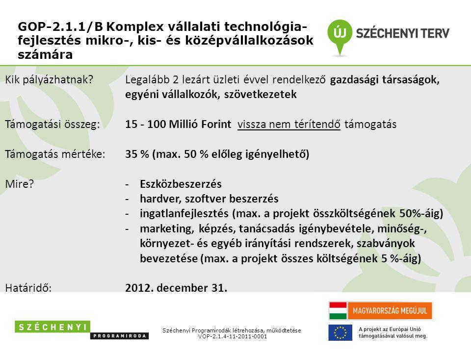 GOP-2.1.1/B Komplex vállalati technológia- fejlesztés mikro-, kis- és középvállalkozások számára Széchenyi Programirodák létrehozása, működtetése VOP-