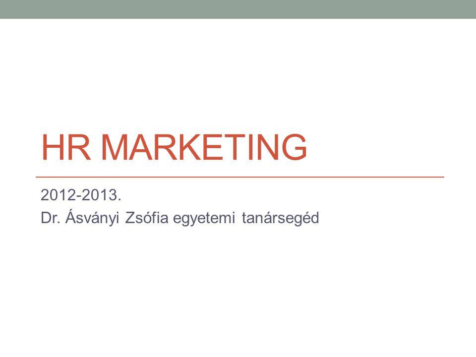HR MARKETING 2012-2013. Dr. Ásványi Zsófia egyetemi tanársegéd