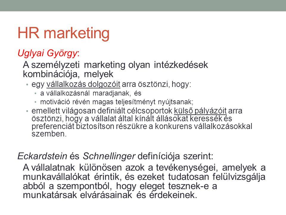HR marketing Uglyai György: A személyzeti marketing olyan intézkedések kombinációja, melyek • egy vállalkozás dolgozóit arra ösztönzi, hogy: • a válla
