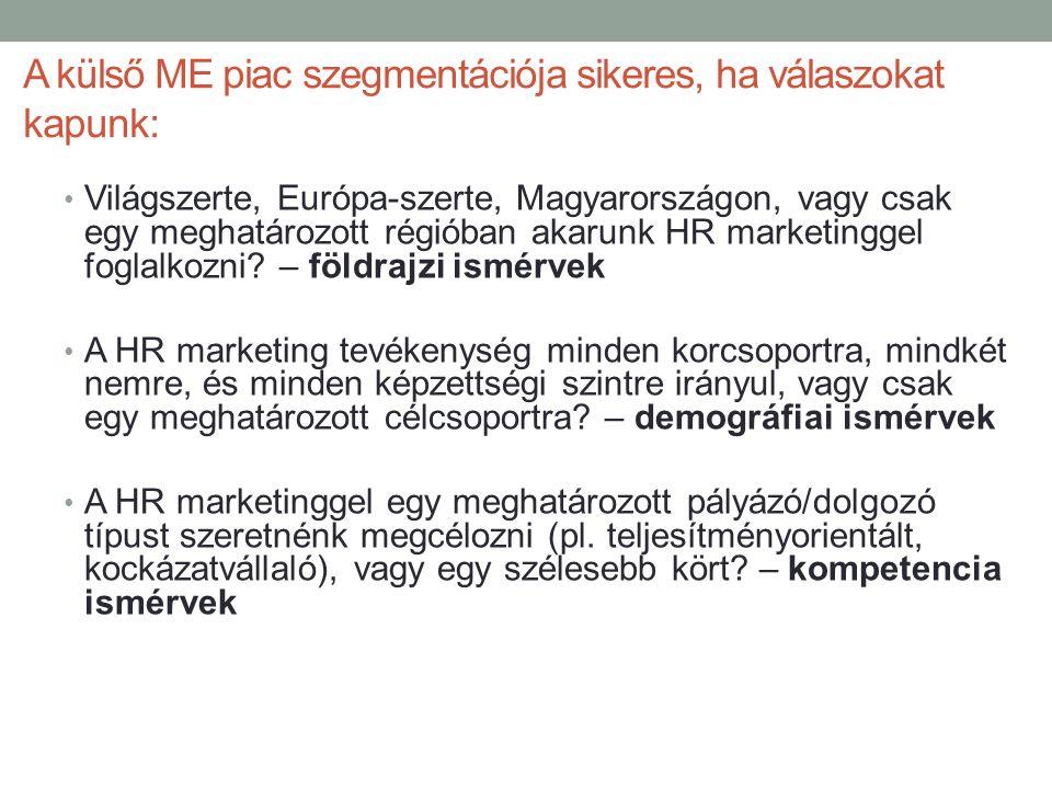 A külső ME piac szegmentációja sikeres, ha válaszokat kapunk: • Világszerte, Európa-szerte, Magyarországon, vagy csak egy meghatározott régióban akaru