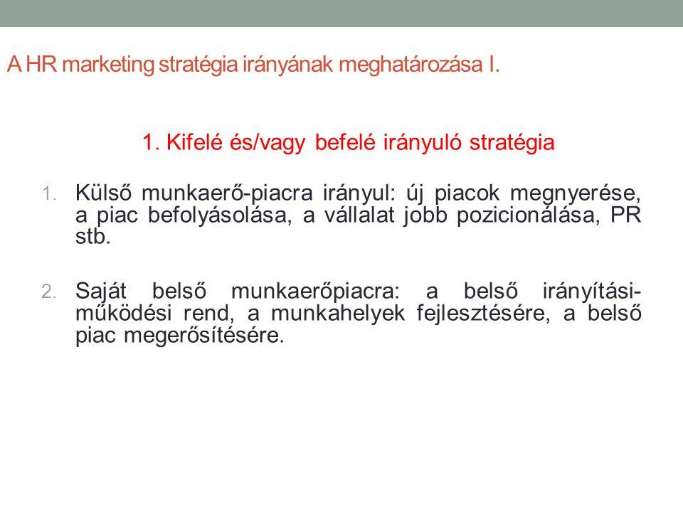 A HR marketing stratégia irányának meghatározása I. 1. Kifelé és/vagy befelé irányuló stratégia 1. Külső munkaerő-piacra irányul: új piacok megnyerése