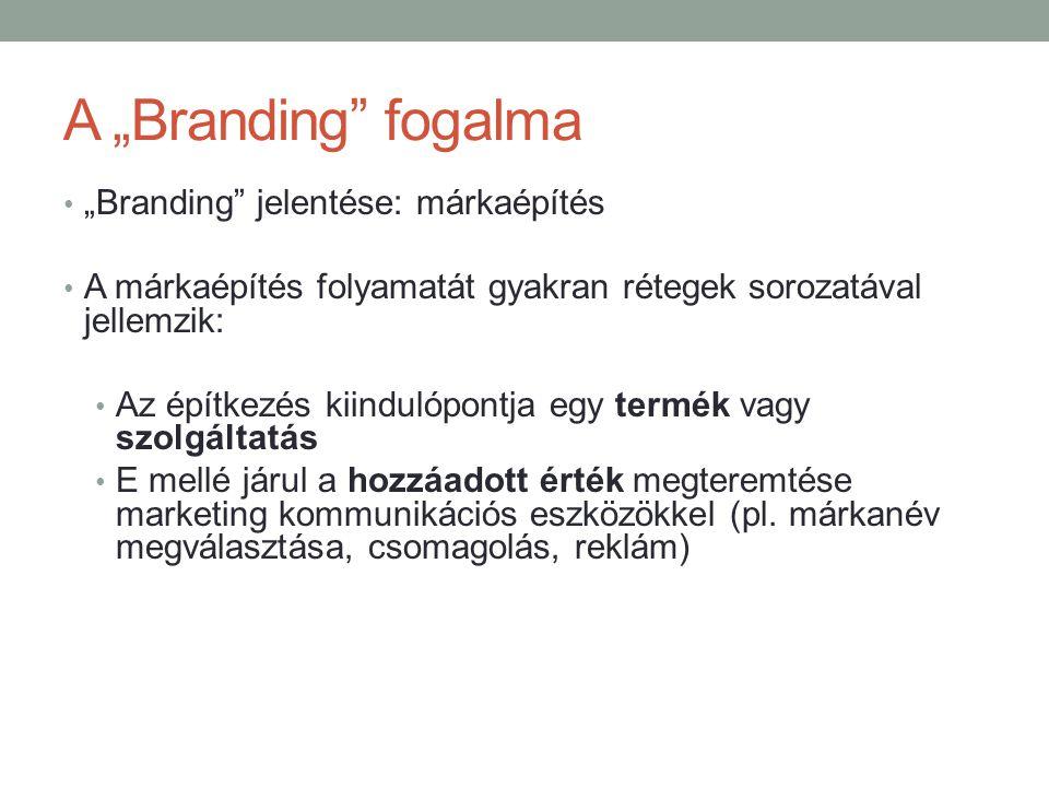 """A """"Branding"""" fogalma • """"Branding"""" jelentése: márkaépítés • A márkaépítés folyamatát gyakran rétegek sorozatával jellemzik: • Az építkezés kiindulópont"""