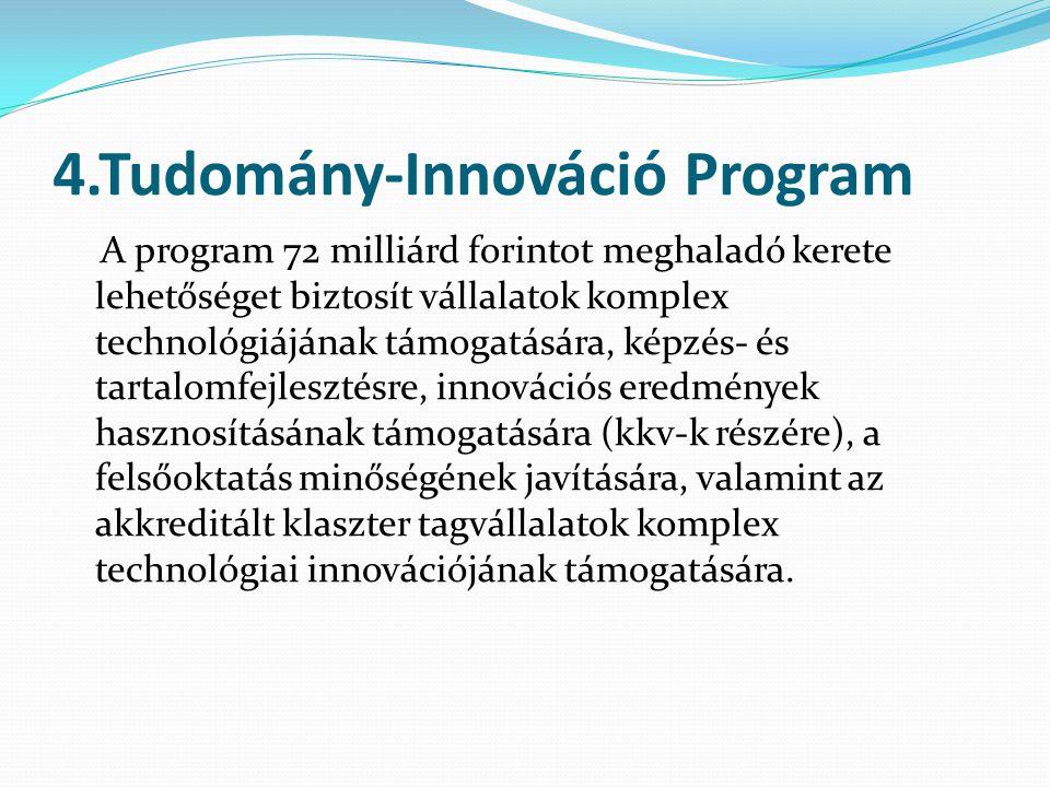 4.Tudomány-Innováció Program A program 72 milliárd forintot meghaladó kerete lehetőséget biztosít vállalatok komplex technológiájának támogatására, képzés- és tartalomfejlesztésre, innovációs eredmények hasznosításának támogatására (kkv-k részére), a felsőoktatás minőségének javítására, valamint az akkreditált klaszter tagvállalatok komplex technológiai innovációjának támogatására.