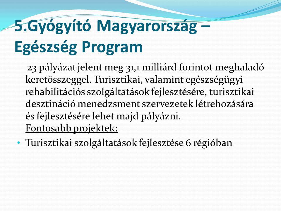 5.Gyógyító Magyarország – Egészség Program 23 pályázat jelent meg 31,1 milliárd forintot meghaladó keretösszeggel.