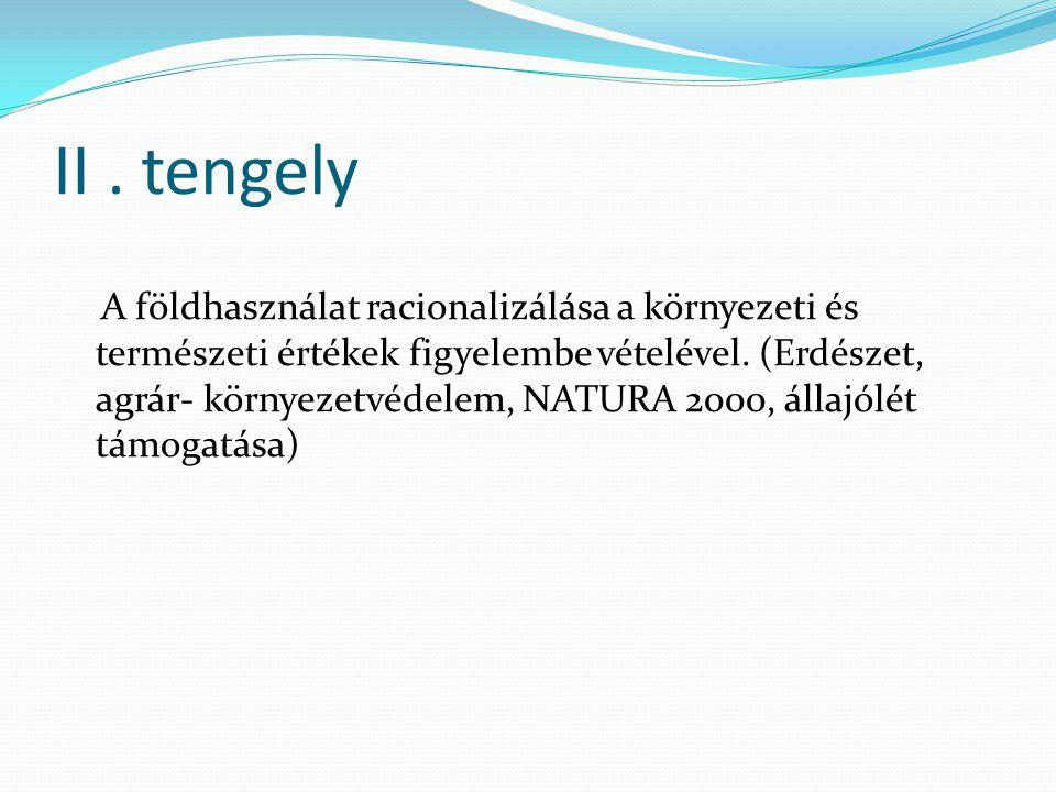 II. tengely A földhasználat racionalizálása a környezeti és természeti értékek figyelembe vételével. (Erdészet, agrár- környezetvédelem, NATURA 2000,