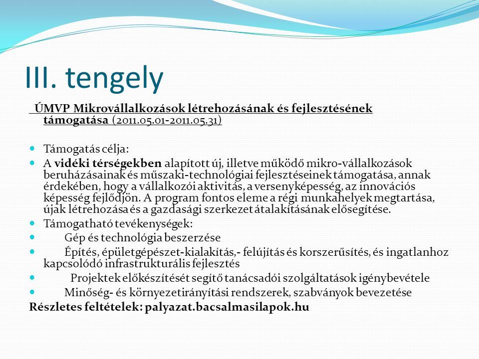 III. tengely ÚMVP Mikrovállalkozások létrehozásának és fejlesztésének támogatása (2011.05.01-2011.05.31)  Támogatás célja:  A vidéki térségekben ala
