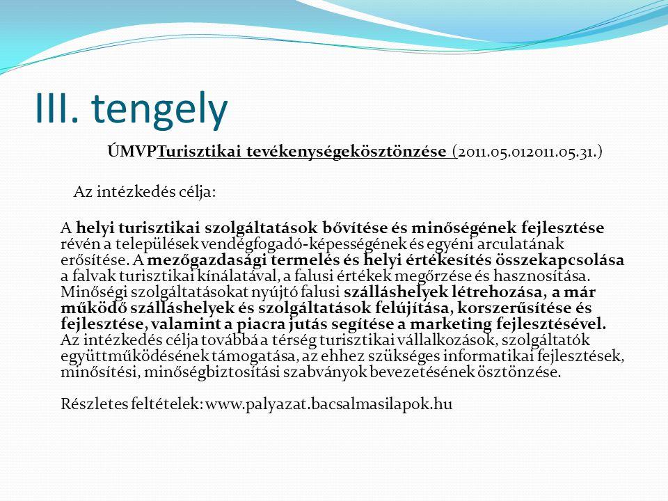 III. tengely ÚMVPTurisztikai tevékenységekösztönzése (2011.05.012011.05.31.) Az intézkedés célja: A helyi turisztikai szolgáltatások bővítése és minős